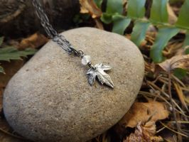 Tinist Elven Maple Leaf with Rainbow Moonstone by QuintessentialArts