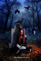 Reading in the cemetary by elcid1973