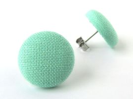 Stud earrings button pastel turquoise green mint by KooKooCraft