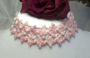 Pink Double Diamond Choker by NevaSirenda