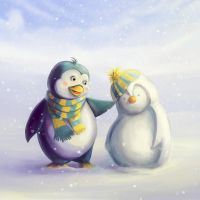 Snow and Penguin by mary-petroff