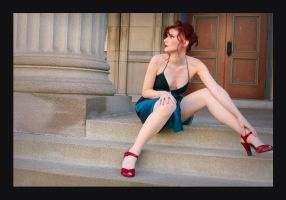 All Dressed Up On Church Steps by MissMarjorie