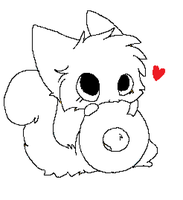 nomming a doughnut .:lineArt:. by MooncloudKitty
