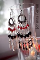 Red and Black Oriental Earring Gothic Belly Dance by Johanna-Ferrius