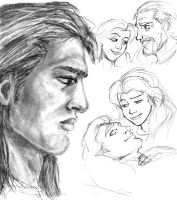 Belle and prince Adam sketches by JesusIsMyHomie