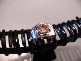 silver ring with diamond by irineja