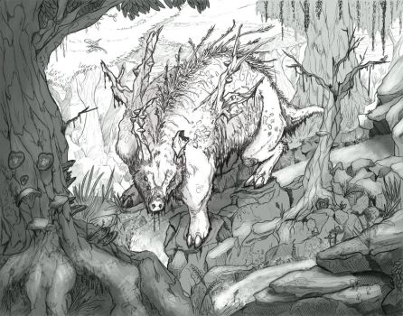 Fungal Boar - Sketch by GarlicEyes