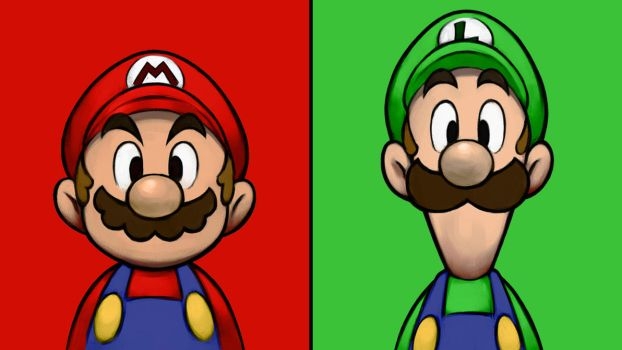 Mario and Luigi - Red and Green by Lwiis64