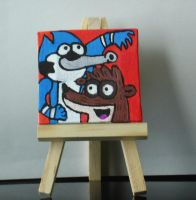 Mordecai and Rigby on a mini canvas by Barricade9-1-1