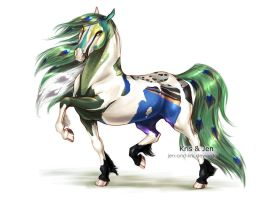 Commission. Peafowl Friesian by jen-and-kris