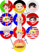 axis powers hetalia button set by megomobile