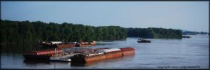 Barges on the Mississippi... by LadyAliceofOz