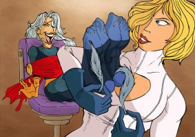 Power girl and Savage pic 02 by JinksLizard