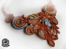 Soutache necklace in Red by caricatalia