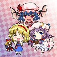 Alice, Patchouli and Remilia by J8d