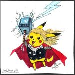 Pikachu, God of Thunder! by MaryDoodles