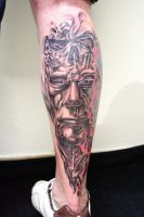 Face Skull Biomech Tattoo by 2Face-Tattoo