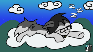 Fuzzy pony, sleeping on a cloud by Fuzzywuff