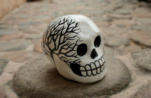 Dark Tree Paper Mache Skull by ArtbySaide