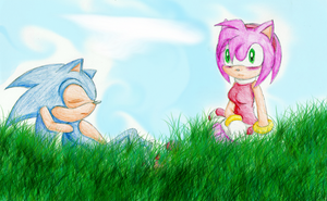 -Collab- Sonic and Amy by MariahAcorn