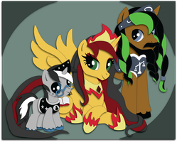 Commission:  Gryphyn Family Shadowbox Mock-up by The-Paper-Pony