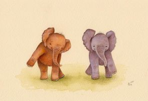 Dancing Baby Elephants by IreneShpak