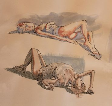 Life Drawing in watercolor by ChrisFernzz