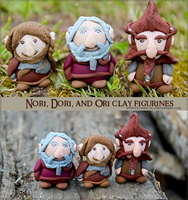 Dori, Nori, and Ori Clay Figurines by Comsical