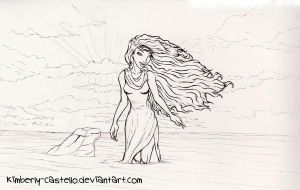 Disney: Ariel Transforming Line-art by kimberly-castello