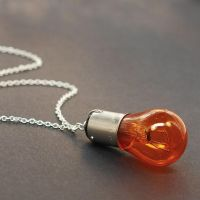 Found Object Jewelry- Orange Light Bulb Necklace by Tanith-Rohe