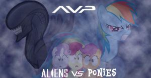 Aliens Vs Ponies Wallpaper by Shadowpredator100