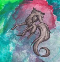 Flowing wolf wih background by Lady-Puma