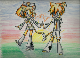 Kagamine Rin, Len the Cats by DaisyRose423