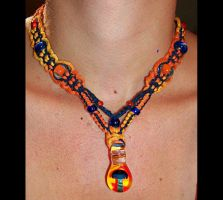 Blue Orange Mushroom Necklace by Psy-Sub