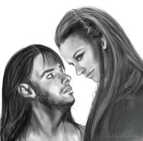 Kili and Tauriel by Simaell