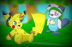 Pikachu And Oshawott Meat For The First Time by Zander-The-Artist