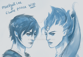 Marshall Lee and Flame Prince - WIP by Dorinootje