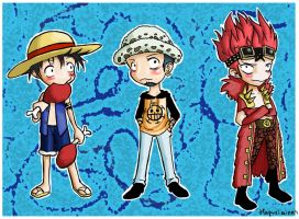 Luffy, Law and Kidd by Hapuriainen