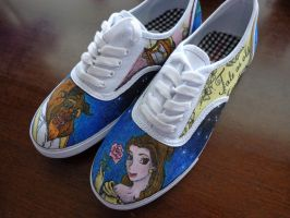Beauty and the Beast shoes by JurassicMacaroni