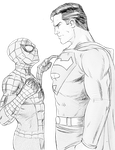 Spider Man vs Super Man Lineart by Riu-Sakurazaki