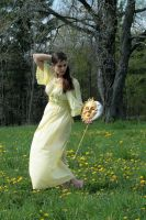 yellow sun dress in the wind by eyefeather-stock