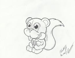 Bomb Squirrel Linework by Lucky-Cat-Tattoo
