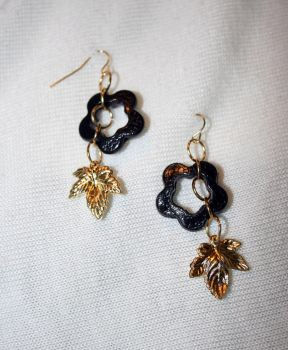 Flower and Leaf Earrings by xewioso