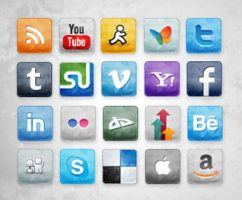 Free Stained and Faded Social Media Icons by socialbeaker