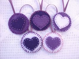 Purple felt valentine heart decorations by PeachPodHandmade