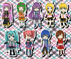 Vocaloid Cell Phone Charms by sakurasamichan