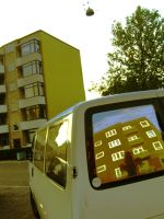 car and house, house and tree by kirsmarie