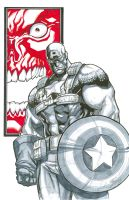 captain america and red skull by MiaCabrera