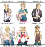 Character outfit meme with Sun (Gabriel) by Selenocosmia-CN