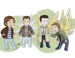 Sam Dean Castiel and Gabriel by whisperelmwood